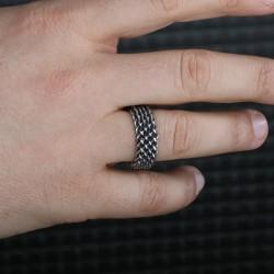 Gümüş Kazaz Örme Bayan El İşi Yüzük - Thumbnail