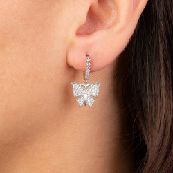 Kelebek Figürlü Gümüş Küpe - Thumbnail