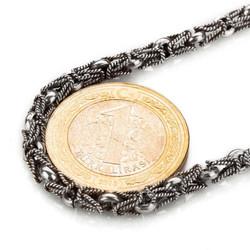 925 Ayar Gümüş Lale Kral Model Erkek Zinciri - Thumbnail