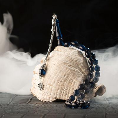 Gümüş Osmanlı Arması Püsküllü Arpa Kesim Koyu Mavi Sıkma Kehribar Tesbih