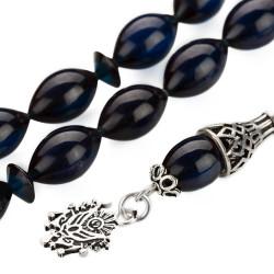 Gümüş Osmanlı Arması Püsküllü Arpa Kesim Koyu Mavi Sıkma Kehribar Tesbih - Thumbnail