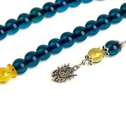 Gümüş Osmanlı Arması Püsküllü Misket Kesim Sarı Lacivert Bilek Boy Damla Kehribar Tesbih - Thumbnail