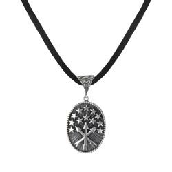 Oval Kesim Çerkes Bayraklı Gümüş Erkek Kolye - Thumbnail
