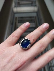 Gümüş Oval Mavi Zirkon Taşlı Erkek Yüzük - Thumbnail