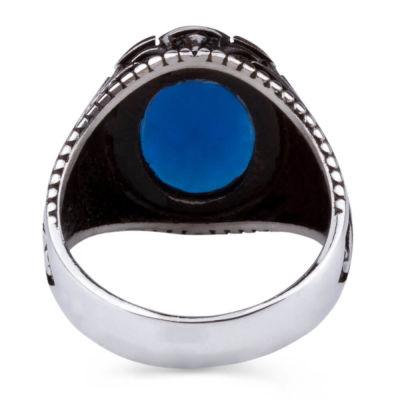 Gümüş Oval Mavi Zirkon Taşlı Erkek Yüzük