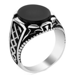 Gümüş Oval Siyah Oniks Taşlı Erkek Yüzük - Thumbnail