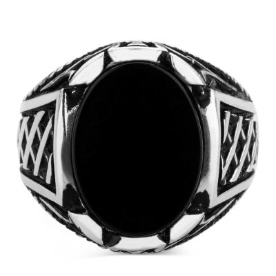 Gümüş Oval Siyah Oniks Taşlı Erkek Yüzük