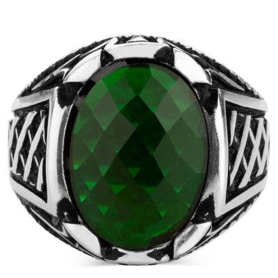 Gümüş Oval Yeşil Zirkon Taşlı Erkek Yüzük