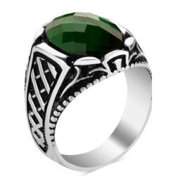 Gümüş Oval Yeşil Zirkon Taşlı Erkek Yüzük - Thumbnail