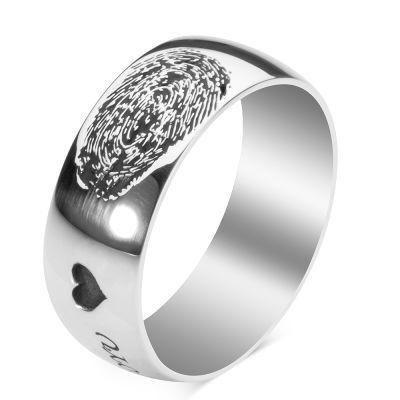 Gümüş Parmak İzi Alyans Kolye