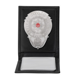 Anı Yüzük - Gümüş Renk Polis Rozetli Yatay Kartlık Cüzdan Siyah