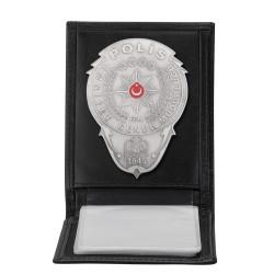 Gümüş Renk Polis Rozetli Yatay Kartlık Cüzdan Siyah - Thumbnail
