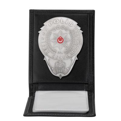 Gümüş Renk Polis Rozetli Yatay Kartlık Cüzdan Siyah