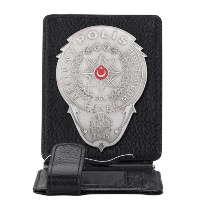 Gümüş Renk Polis Rozetli Para Tokalı Kartlık Cüzdan Siyah