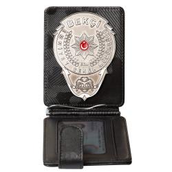 Anı Yüzük - Gümüş Renk Bekçi Rozetli Para Tokalı Kartlık Cüzdan Kamuflaj Siyah