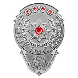 Gümüş Renk EGM Bekçi Kemer Rozeti - Thumbnail