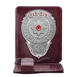 Anı Yüzük - Gümüş Renk EGM Bekçi Rozetli Para Tokalı Kartlık Cüzdan Bordo