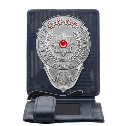 Anı Yüzük - Gümüş Renk EGM Bekçi Rozetli Para Tokalı Kartlık Cüzdan Kamuflaj Lacivert