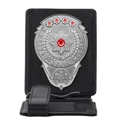 Anı Yüzük - Gümüş Renk EGM Bekçi Rozetli Para Tokalı Kartlık Cüzdan Siyah