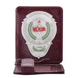 Jandarma Genel Komutanlığı Rozetli Para Tokalı Kartlık Cüzdan Bordo