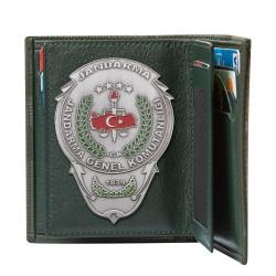 Jandarma Genel Komutanlığı Rozetli Klasik Cüzdan Kamuflaj Yeşil