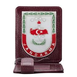 Anı Yüzük - Gri Renk Jandarma 1839 Rozetli Para Tokalı Kartlık Cüzdan Bordo