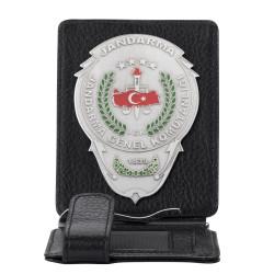 Jandarma Genel Komutanlığı Rozetli Para Tokalı Kartlık Cüzdan Siyah