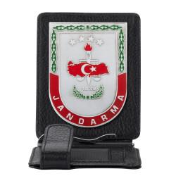 Gri Renk Jandarma 1839 Rozetli Para Tokalı Kartlık Cüzdan Siyah - Thumbnail