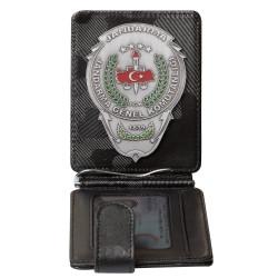 Jandarma Genel Komutanlığı Rozetli Para Tokalı Kartlık Cüzdan Kamuflaj Siyah