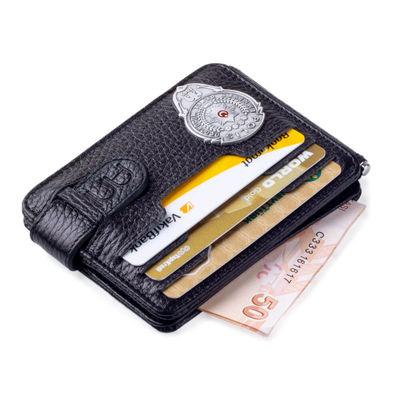 Gümüş Renk Mini Polis Rozetli Çift Taraflı Para Tokalı Kartlık Cüzdan Siyah