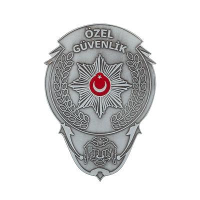 Gümüş Renk Özel Güvenlik Cüzdan Rozeti