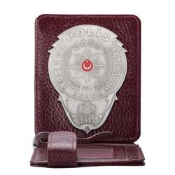 Anı Yüzük - Gümüş Renk Polis Rozetli Para Tokalı Kartlık Cüzdan Bordo