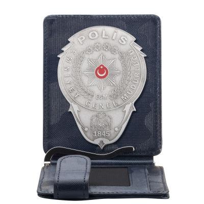 Gümüş Renk Polis Rozetli Para Tokalı Kartlık Cüzdan Kamuflaj Lacivert