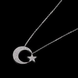 Gümüş Renk Sade Ay Yıldız Kadın Kolye - Thumbnail