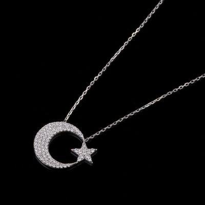 Gümüş Renk Sade Ay Yıldız Kadın Kolye