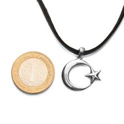 Sade Ay Yıldız Gümüş Erkek Kolye - Thumbnail