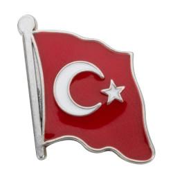 Gümüş Sancaklı Türk Bayrağı Yaka Rozeti - Thumbnail