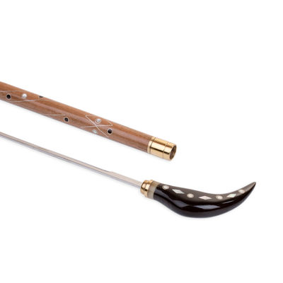 Gümüş Sedef Kakmalı Kılıçlı Bükme Saplı El Yapımı Gül Ağacı Baston