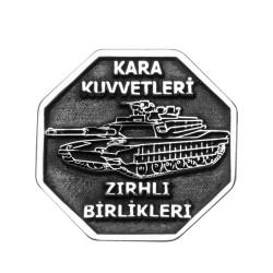 Anı Yüzük - Gümüş Tank Figürlü Zırhlı Birlikler Yaka Rozeti