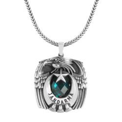 Gümüş Tek Kartal Başlı Pençeli Jandarma Kolyesi - Thumbnail
