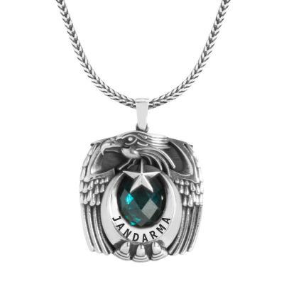 Gümüş Tek Kartal Başlı Pençeli Jandarma Kolyesi