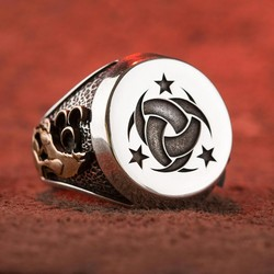 Gümüş Teşkilât-ı Mahsusa Yüzüğü (Ay Yıldız- Bozkurt)