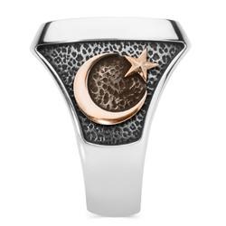 Gümüş Teşkilât-ı Mahsusa Yüzüğü (Ay Yıldız- Bozkurt) - Thumbnail
