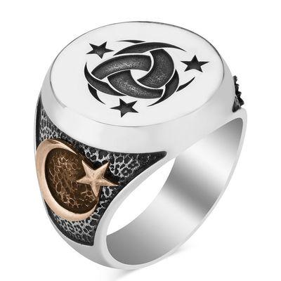Gümüş Teşkilât-ı Mahsusa Yüzüğü Osmanlı Arması-Ayyıldız