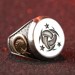 Gümüş Teşkilât-ı Mahsusa Yüzüğü Osmanlı Arması-Ayyıldız - Thumbnail