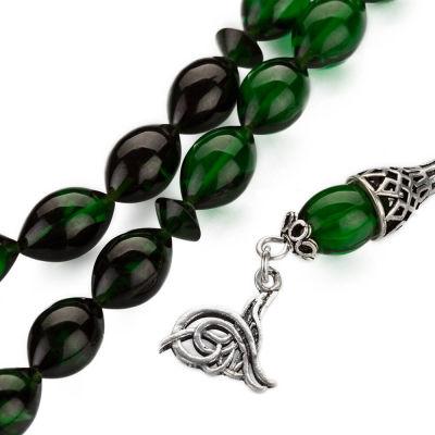 Gümüş Tuğra Püsküllü Arpa Kesim Yeşil Sıkma Kehribar Tesbih