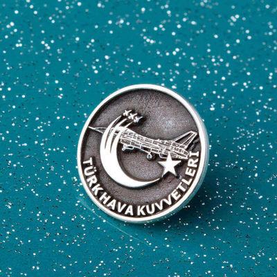 Gümüş Uçak Motifli Türk Hava Kuvvetleri Yaka Rozeti