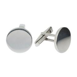 Gümüş Yuvarlak Kesim Kol Düğmesi - Thumbnail