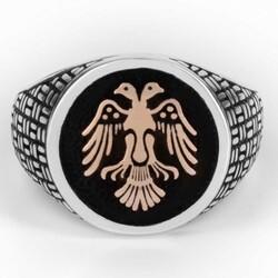 Çift Kartal Başlı Siyah 925 Ayar Gümüş Yüzük - Thumbnail