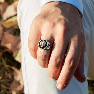 Çift Kartal Başlı Siyah 925 Ayar Gümüş Yüzük